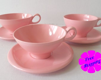 Vintage Pink Boontonware/Melmac 6 Piece Cups and Saucers 1206-8