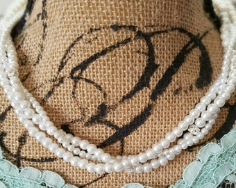Twisted Pearl and Crystal Necklace