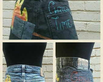 BBQ Apron, Denim aprons,  repurposed jean garden/cooking  apron, hand painted apron, upcycled denim