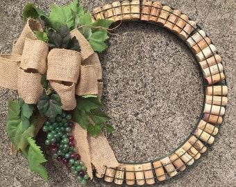 Wine Cork Wreath - green/burgundy grape bunch