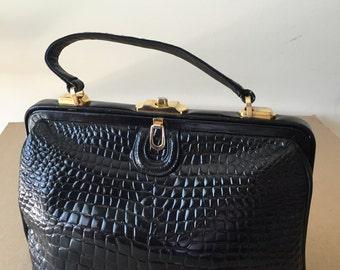 Vintage, patent leather, satchel, black,  Kelly style handbag ,50s/60s