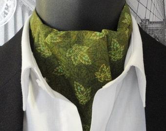 Reversible cravat for men, green leaf design and spots on the reverse