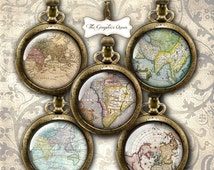 80 % off SaLe INSTANT DOWNLOAD- 1 Inch Circle Antique Map Digital Collage Bottle Cap Images great for Map Necklace, Magnets, Stickers