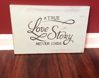 Love Story Primitive sign rustic wall home decor