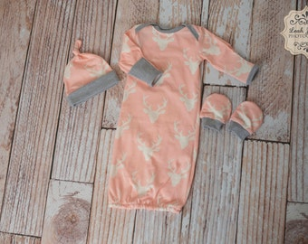 Pink Deer Baby Gown, Mitts, and Hat Baby Shower Gift/ Hunting Baby Gown/ Deer/Buck Baby Gown Pink and Grey