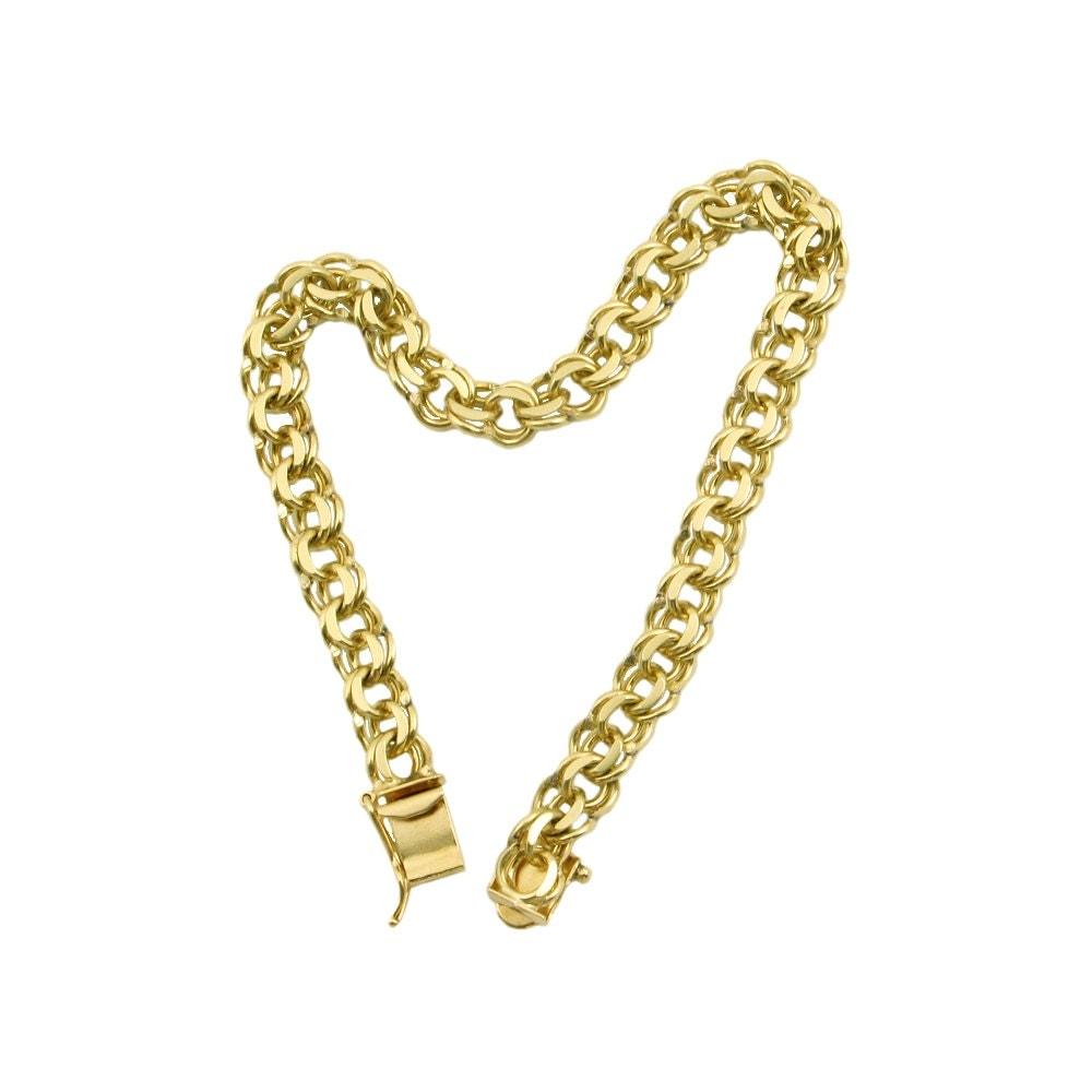 Vintage 14k Gold Charm Bracelet: 14K Gold Charm Bracelet Vintage Double Link Charm Bracelet
