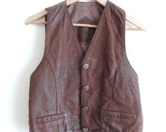Vintage GABRINI CREALIONE Brown leather vest with buttons, pockets and lining