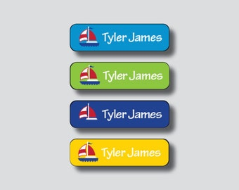 SAILBOAT Waterproof Stickers, Sippy Cup Sticker, Personalized Waterproof, Dishwasher Safe, Daycare Labels, Waterproof Kids Labels