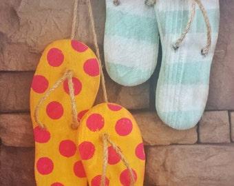 Flip Flop Decor - Wooden Flip Flops - Summer Decorations - Summer Wreath - Beach Decor