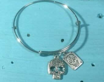 Skull Bangle Charm Bracelet