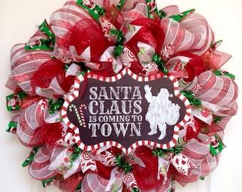Santa Claus Is Coming To Town Handmade Deco Mesh Christmas Wreath