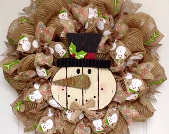Wood Snowman With Tin Carrot Nose Winter Or Holiday Burlap Deco Mesh Wreath