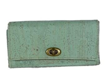 Mahua Wallet - Ocean Green Vegan Certified Cork Fabric
