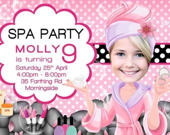 Girl's Spa Party Invitation. Glamour Birthday Invitation. Glamour Girl Birthday Invitation, Pampering Spa Party, Day spa invitation