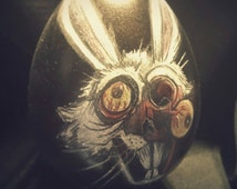 """Rotten Egg #2. Zombie Bunny, """"Half face."""" Easter Decoration. Easter egg. Giant egg. Original Art. Zombies. Oddities."""