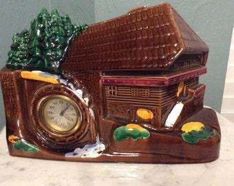 Vintage German Cabin Clock Water Wheel Hand Painted Germany 710 Wind Up