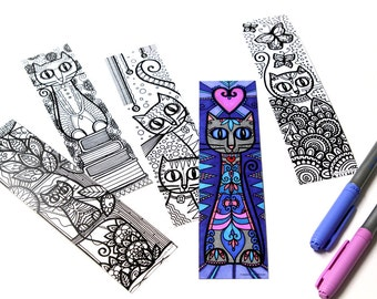 Set of 5 cats, cats bookmark bookmarks, coloring!