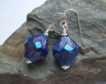 Purple Czech Glass Earrings; Silver Hooks; Gift Box Option; UK Shop