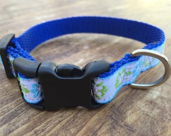 XS Dog Collar, Jacquard dog collar, dog collar for girl, pretty dog collar, blue dog collar, sublimebirdy, female dog collar, 5/8 dog collar