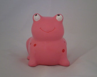 Red on Pink Frog Bank