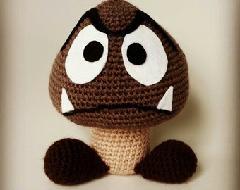 Handmade crocheted Goomba plush