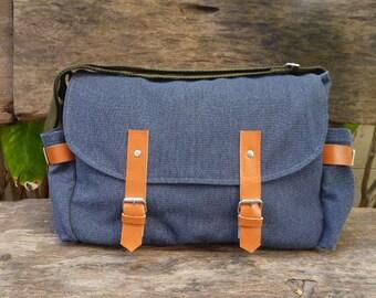 Navy Blue  Messenger bag/Diaper bag/Crossbody bag/canvas bag