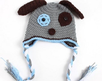 Gray Dog Crochet Kids Hat