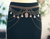 The Isadora Belt - Made To Order Art Deco Kuchi Chain Belt / Body & Bra Drape - Tribal Belly Dance Coin Belt - Antique Bronze or Silver