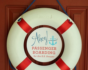 Ahoy Passenger Boarding Sign, Boat Races, Off-Deck Fishing, Let's Set Sail Banner with Personalized Boat & Octopus - PDF printable, Nautical