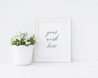 """Styled stock photography - White frame + white floral plant mock up - 8 x 10"""" - High Res Jpeg file + PSD"""