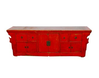 Chinese Red Lacquer Sideboard Console Table