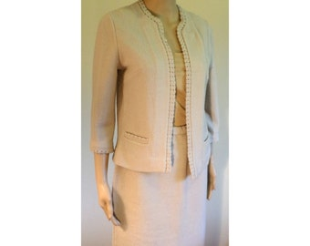 Vintage 1960's Mod Beige Butte Knit Textured Wool Secretary Suit/Cropped 3/4 Sleeve Jacket/Pencil Skirt W/ Stretch Waist Approx Size Med