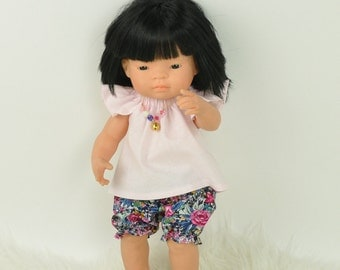 Miniland Doll clothes, Miniland clothing, floral bloomers, pink blouse, set of clothes