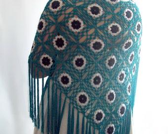 Turquoise Shawl, Labour Day Sale, blue shawl, Bridal Shawl, Wedding Shawl, Crochet Shawl, Fringed Shawl, Evening Shawl, Gift for Her