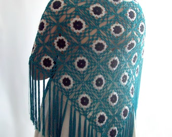 Turquoise Shawl, Blue Shawl, Lace Shawl, Bridal Shawl, Wedding Shawl, Crochet Shawl, Fringed Shawl, Evening Shawl, Gift for Her