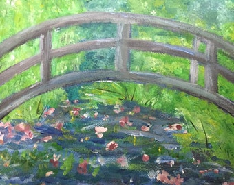 10x8 Peaceful Bridge over Lily Pond Painting on stretched Canvas