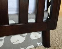 Whales Crib Skirts, Nautical baby bedding, Nautical crib skirts, crib skirt, Aqua crib skirt, Baby boy crib skirt