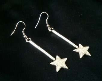 Dangling Silver Metal Shooting Star Earrings