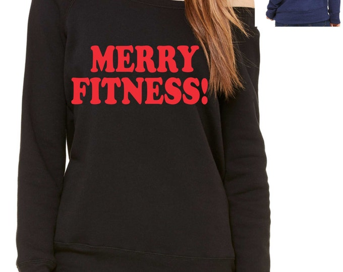 Gym Sweatshirt . Red and black  MERRY FITNESS sweatshirt - ladies christmas Sweatshirt, oversized, loose fitness sweatshirt , off shoulder