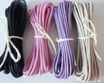Set of 4 cotton wax cords, pink lavender black  biscotti 2mm waxed cotton cord, Waxed Cotton String, Bracelet Cord, Knotting Cord,