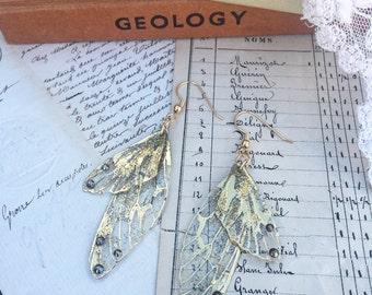NEW gold faerie wing earrings
