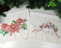 Set of 2 Hand Embroidered Red Poinsettia & Silver Bells Christmas Holiday Kitchen, Hand, Tea, Dish or Decorative Towel. Free Shipping to US