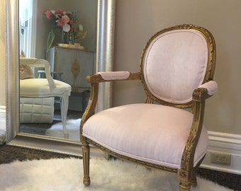 SOLD ***Chair, Cabriolet, in Pink Linen and Gold -- SOLD