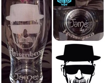 Personalised Breaking Bad Pint Glass. Handcrafted Heisenberg Gift with Personalised Name!