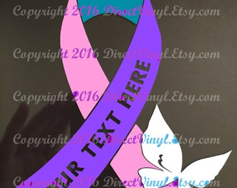 YOU CHOOSE BUTTERFLY Pink/Purple/Teal Awareness Ribbon Window Decal (thyroid cancer)