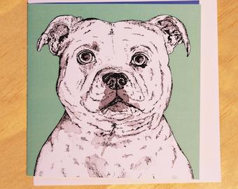 Staffordshire Bull Terrier,  Notecard, Blank Card, Birthday Card, Dog Lovers Card, Staffie,  Illustrated Card, Art Card, Original Card