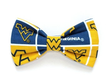 University of West Virginia Inspired Dog bow tie, Cat bow tie, fabric bow tie for dog/cat collars, pet bow tie, collar bow tie