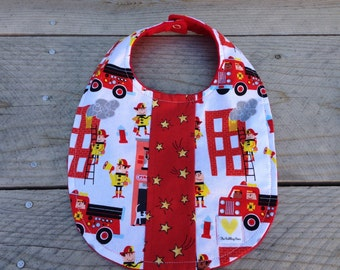 Baby boy bib - firetrucks and stars baby bib - red patchwork baby bib - baby shower gift - red minky baby bib