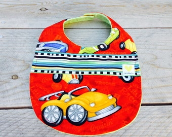 Baby boy car bib - red baby bib - baby shower gift - cotton minky baby boy bib