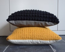 Knitted pillowcover Ocher